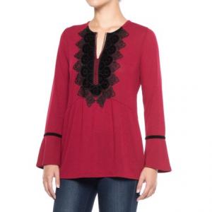 Image of August Silk Velvet Applique Shirt - Long Sleeve (For Women)