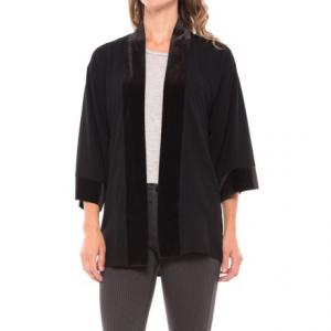 Image of August Silk Lace-Back Cardigan Shirt - Velvet Trim, 3/4 Sleeve (For Women)