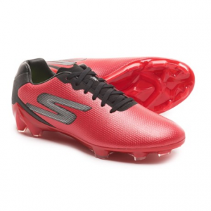skechers go soccer galaxy fg soccer cleats (for men)- Save 60% Off - CLOSEOUTS . Skechersand#39; Go Soccer Galaxy FG soccer cleats offer improved stability and grip on the field. The cleated outsole is a firm blend of Pebaxand#174; and TPU for excellent support and grip in the grass, and the synthetic leather upper is textured for improved ball touch. Inside is a cushy Goga Maxand#174; insole made from stretchy yoga mat material for incredible comfort. Available Colors: BLACK/BLACK, GREY/LIME, RED/BLACK. Sizes: 7, 7.5, 8, 8.5, 9, 9.5, 10, 10.5, 11, 11.5, 12, 12.5, 13, 14.
