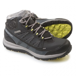 salomon kaina cs winter boots - waterproof, insulated (for women)- Save 53% Off - CLOSEOUTS . Enjoy extreme warmth without sacrificing your fashion sense in Salomonand#39;s Kaina CS winter boots. The Climashieldand#174; bootie and Climatherm insulation keep feet warm and dry, and the plush fleece collar and ankle stitching look great, too. Available Colors: BLACK/ASPHALT/FLASH. Sizes: 5, 5.5, 6, 6.5, 7, 7.5, 8, 8.5, 9, 9.5, 10, 10.5, 11, 11.5, 12, 12.5, 13, 13.5, 14.