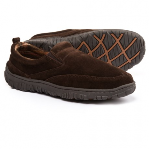 Image of Clarks Moc Slippers with Plaid Fleece Lining - Suede (For Men)