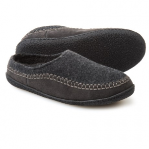 Image of Clarks Fleece and Suede Clog Slippers (For Men)