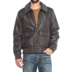 Image of G.H. Bass and Co. Vegan-Leather Aviator Bomber Jacket - Insulated, Removable Sherpa Collar (For Men)