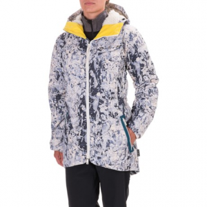 burton l.a.m.b. x burton bolan down jacket - waterproof, 650 fill power (for women)- Save 55% Off - CLOSEOUTS . A super-sleek puffy with a sherpa-lined hood, Burtonand#39;s L.A.M.B. x Bolan down jacket upscales your cold weather days in durable waterproof warmth. DRYRIDE Durashell 2L fabric is paired with 650 fill power down and feather insulation, and finished in distinctive pops of color for a warm, dry and comfortable look thatand#39;s all you. Available Colors: CAMO PLAID, PAINT CRACKLE. Sizes: XS, S, M, L, XL.