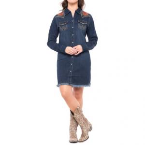 Image of Wrangler Rodeo Quincy Denim Dress - Long Sleeve (For Women)