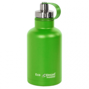 ecovessel boss insulated growler with infuser - 64 fl.oz.- Save 54% Off - CLOSEOUTS . This EcoVessel Boss growler is the hero of every camping trip and perfect for picnics! Fill it with anything from hot coffee to frosty beer or ice water; it keeps a whopping 64 ounces cold or hot all day with TriMax vacuum triple-insulation. A removable infuser offers extra flavor and versatility, and the dual-use lid makes for easy filling and drinking. Available Colors: BLACK SHADOW, HUDSON BLUE, MILE HIGH GREEN.
