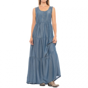 Image of Wrangler Tiered Chambray Maxi Dress - Sleeveless (For Women)