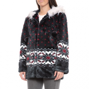 Image of Black Mountain Faux-Fur Hooded Jacket (For Women)