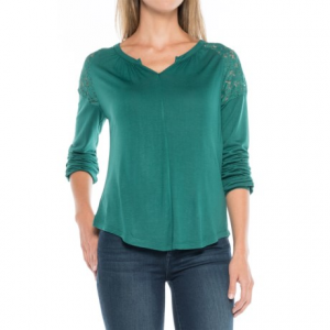 aventura clothing ginger shirt - long sleeve (for women)- Save 37% Off - CLOSEOUTS . Upgrade your weekend wardrobe with Aventura Clothingand#39;s Ginger shirt, done in supersoft rayon jersey with delicate, semi-sheer lace at the shoulders for a sweet, feminine touch. The split neckline, center-front seam, curved hem and relaxed fit create a casual, easygoing silhouette. Available Colors: BLACK, SHADED SPRUCE, MULLED GRAPE, WHISPER WHITE. Sizes: XS, S, M, L, XL, 2XL.