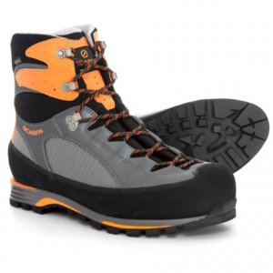 scarpa charmoz pro gore-tex(r) mountaineering boots - waterproof (for men)- Save 45% Off - CLOSEOUTS . Scarpaand#39;s Charmoz Pro Gore-Texand#174; mountaineering boots are crampon-compatible alpine boots that help you move quickly from base camp to summit. The Tri-Flex ankle design allows exceptional range of motion, and the full rubber rand provides reliable impact protection. Available Colors: GREY/ORANGE. Sizes: 40, 41, 41.5, 42, 42.5, 43, 43.5, 44, 44.5, 45, 45.5, 46, 46.5, 47, 48, 40.5, 34, 34.5, 35, 35.5, 36, 36.5, 37, 37.5, 38, 38.5, 39, 39.5, 49, 50.