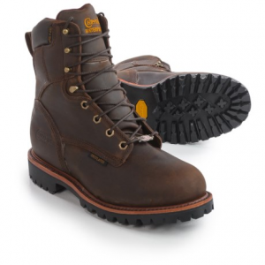 Image of Chippewa Bay Crazy Horse Leather Work Boots - Steel Safety Toe, Waterproof, Insulated, 8? (For Men)