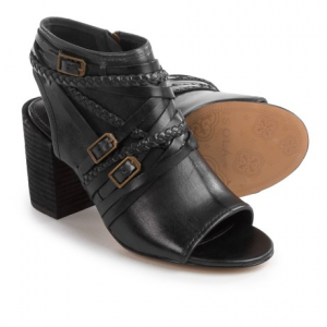 isola leonora open-toe bootie sandals - leather (for women)- Save 61% Off - CLOSEOUTS . Complete your outfit with Isolaand#39;s Leonora open-toe bootie sandals. These gorgeous leather statement-makers are wrapped with leather and braided straps for equal parts of boho chic and edgy urban flavor, and set on a chunky stack heel for a bit of lift. Available Colors: BLACK SUEDE, CREAM. Sizes: 6, 6.5, 7, 7.5, 8, 8.5, 9, 9.5, 10, 10.5, 11.