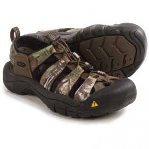 keen newport h2 sport sandals (for men)- Save 50% Off - CLOSEOUTS . As comfortable in the water as they are on land, Keenand#39;s Newport H2 sport sandals perform in the field and at camp. Quick-dry polyester webbing straps are paired with a sturdy, anatomic footbed and a razor-siped outsole. Available Colors: REALTREE XTRA GREEN. Sizes: 8.5, 9, 9.5, 10, 10.5, 11, 11.5, 12, 14, 15, 16, 17.