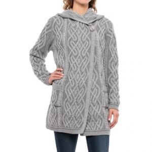Image of Aran Mor One-Button Hooded Cardigan Sweater - Merino Wool (For Women)