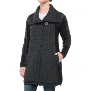 Image of Aran Craft One-Button Plated Cardigan Sweater - Merino Wool (For Women)