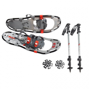 yukon charlie?s 825 trail snowshoes kit with poles - 25?- Save 33% Off - CLOSEOUTS . Yukon Charlieand#39;s 825 Trail snowshoes kit lets you stroll through the snowy woods or navigate a packed trail comfortably. Dual ratcheting binding straps fit most footwear, and the rigid steel crampon helps you climb confidently. Available Colors: BLACK, BLUE.