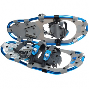 yukon charlie?s 821 trail snowshoes kit with poles - 21?- Save 33% Off - CLOSEOUTS . Yukon Charlieand#39;s 821 Trail snowshoes kit lets you stroll through the snowy woods or navigate a packed trail comfortably. Dual ratcheting straps fit most footwear, and the rigid steel crampon helps you climb confidently. Available Colors: BLUE.