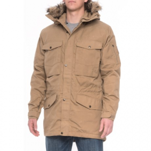 fjallraven sarek winter jacket - insulated (for men)- Save 50% Off - CLOSEOUTS . A warmly insulated trekking jacket with a long traditional cut, Fjallravenand#39;s Sarek winter jacket features a G-1000and#174; synthetic blend shell with heavy-duty reinforcements at the shoulders and lower back to reduce backpack abrasions; the pack-friendly pockets and technical hood with removable faux-fur trim keep your options open. Available Colors: GREEN, SAND, CHESTNUT, TAUPE. Sizes: S, 2XL, XS, M, L, XL.