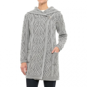 Image of Aran Crafts Plaited One-Button Cardigan Sweater - Merino Wool (For Women)