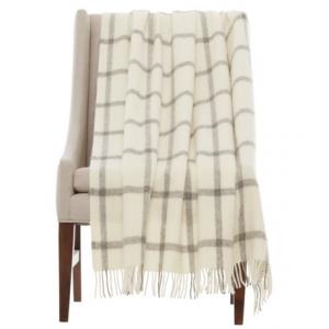 Image of Bronte by Moon Windowpane Shetland Wool Throw Blanket - 55x72?