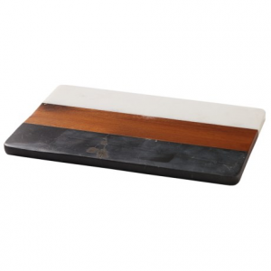 Image of Core Bamboo Acacia and Two-Tone Marble Cutting and Serving Board - Rectangle