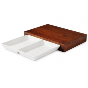Image of Fabio Viviani Compagno Acacia Cutting Board and Divided Ceramic Dish