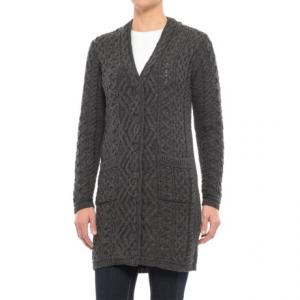 Image of Aran Mor V-Neck Cardigan Sweater - Merino Wool (For Women)