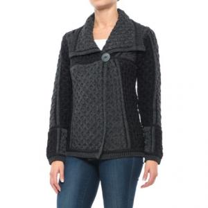 Image of Aran Mor Short One-Button Cardigan Sweater - Merino Wool (For Women)