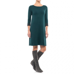 Image of Artisan NY Boat Neck A-Line Double Knit Dress - 3/4 Sleeve (For Women)