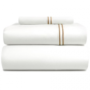 Image of Bambeco Contrast Satin Stitch Organic Cotton Sheet Set - Twin, 500 TC