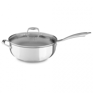 Image of KitchenAid Chef?s Pan with Glass Lid - 6 qt., Stainless Steel