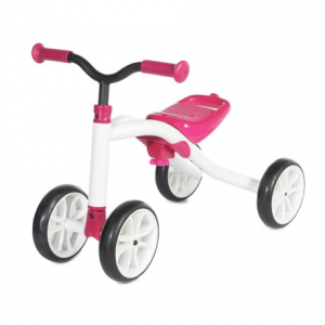 chillafish quadie grow-with-me bike (for little kids)- Save 16% Off - CLOSEOUTS . Chillafishand#39;s Quadie Grow-with-Me bike offers a stable four-wheeled design that makes a perfect confidence-building first bike. The seat moves from 21cm to 26cm high as your child grows, the synthetic-rubber tires work well indoors and outdoors, and the lightweight design is easy for mom or dad to carry if junior decides heand#39;s done riding half-way home. Available Colors: BLUE, LIME, PINK.