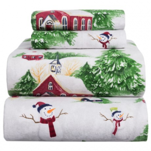 Image of Azores Flannel Printed Snowman Sheet Set - King
