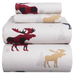 Image of Azores Flannel Printed Moose Sheet Set - Queen