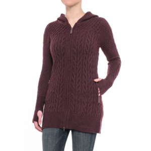 telluride clothing co. textured cardigan sweater - hooded, zip front (for women)- Save 30% Off - CLOSEOUTS . When colder weather comes to visit, slip into this Telluride Clothing Co. textured cardigan sweater, crafted from a soft and toasty nylon-wool knit with mixed stitching for oodles of touchable texture. Available Colors: RAISIN HEATHER, DARK MOSS. Sizes: XS, S, M, L, XL.