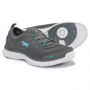 ryka divya training shoes - slip-ons (for women)- Save 50% Off - CLOSEOUTS . rykaand#39;s Divya training shoes are sure to be your everyday, slip-on-and-go, ready-for-anything favorites. The mesh upper is light and breathable, with protective overlays at the toe and heel. Bungee lacing and a neoprene sock liner offer super-flexible comfort, even against bare feet. A supportive memory-foam footbed and a textured outsole make them workout-ready, too. Available Colors: NAVY/RED/WHITE, BLACK/MINT FABULOUS, GREY/BLUE/WHITE, 04. Sizes: 6, 6.5, 7, 7.5, 8, 8.5, 9, 9.5, 10, 11.
