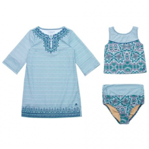 Image of Cabana Life Embroidered Tankini and Cover-Up Set - UPF 50+, 3/4 Sleeve (For Big Girls)