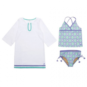 Image of Cabana Life Tankini and Terry Cover-Up Set - UPF 50, 3/4 Sleeve (For Big Girls)