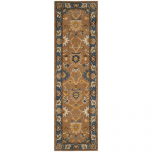 Image of Safavieh Heritage Collection Camel and Blue Runner Rug - 2?3?x8?, Hand-Tufted Wool