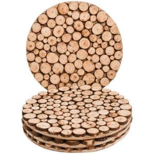 Image of Jay Imports 14? Wooden Natural Round Chargers/Placemats - Set of 4