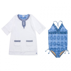 Image of Cabana Life Swimsuit and Cover-Up Set - UPF 50+, Elbow Sleeve (For Big Girls)