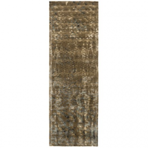 Image of Loloi Journey Collection Stone and Blue Floor Runner - 2?4?x7?9?, Wool-Viscose