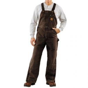Image of Carhartt Quilt-Lined Bib Overalls - Sandstone Duck, Factory Seconds (For Men)