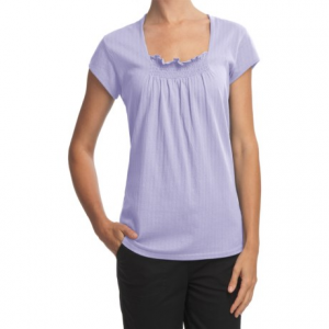 woolrich flannery cotton pointelle shirt - smock front (for women)- Save 40% Off - CLOSEOUTS . A delightfully feminine alternative to average t-shirts, Woolrich's Flannery shirt is made from a flowing cotton pointelle with a pretty smocked neckline and cap sleeves. Available Colors: LIGHTER BLUE MOON, WHITE, LIGHT CALYPSO, LIGHT WISTERIA. Sizes: S, M, L, XL, 2XL, XS.
