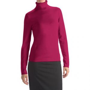 Image of August Silk Rib-Trim Turtleneck Sweater (For Women)