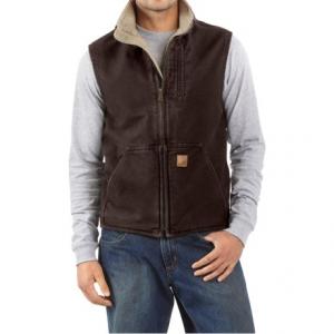 Image of Carhartt Sandstone Mock Neck Vest - Sherpa Lined, Factory Seconds (For Men)