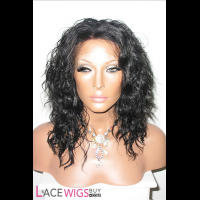"14"" Curly #1 Lace Front Wigs 100% Indian Remy Human Hair [LC0567]"