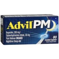 Advil PM Pain Reliever Nighttime Sleep-Aid 80 Coated Caplets