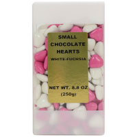 Small Chocolate Hearts - White and Fuchsia - 8.8 oz bag