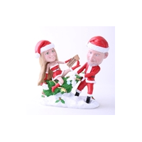 Custom Bobblehead Doll: Santa Couple Merry Christmas
